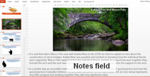 Screenshot of PowerPoint in editing view showinghte notes field with a description of the slide content added.