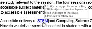 Screenshot showing pop up screentip on a hyperlink in Word