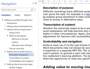 Screenshot ow Word document showing navigation pane and how it allows readers to access any part of the document structure.
