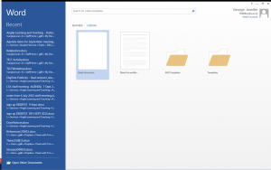 Screenshot showing how to access Microsoft Word templates
