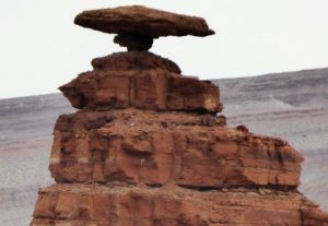 Image of a balancing rock in a desert