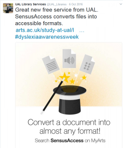 Screenshot of tweet promoting Sensus Access service