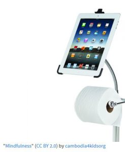 digital mindfulness a toilet roll holder with an iPad holder