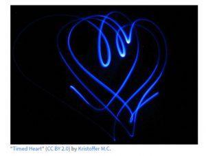 light strobe in the shape of a heart.