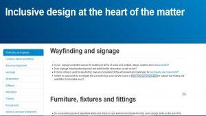 screen grab of inclusive design blog
