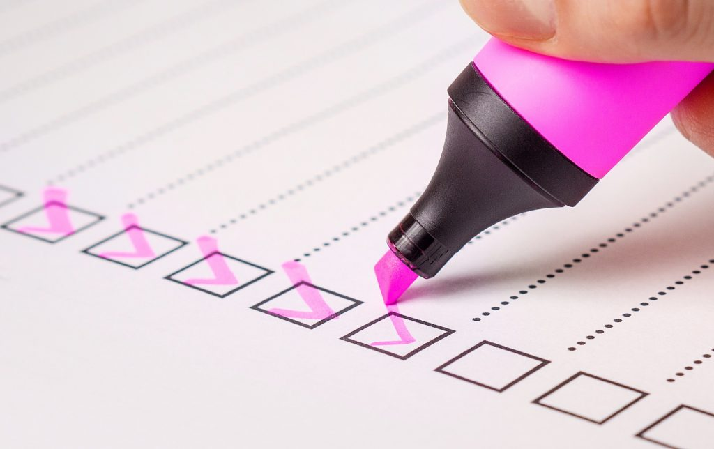 Checklist being 'ticked off'
